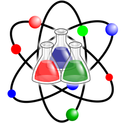 Image of 3 beakers and an atom to indicate science.